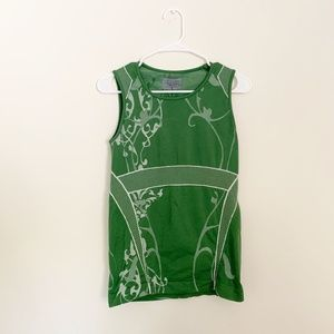 Athleta Floral Green Workout Tank Top
